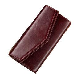محفظة جلدية مسطحة أصلية من الصين للنساء مع كوين فتحات للنساء تغمرك 12 فتحات بطاقات محفظة