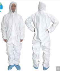 L'isolement des vêtements de travail de protection jetables Non-Woven intégré Dust-Proof vêtements du corps entier avec un bouchon pour empêcher le vol de la mousse