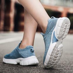 Deportes de la mujer tejido calcetín usado elástica transpirable ejecutando Casual Hombre Mujer Flyknit tejidos de punto tejido Superior zapatos