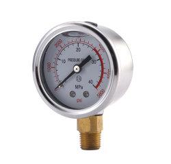Manometer met vloeistofgevulde manometer voor aansluiting van met glycerine gevulde messing bodem