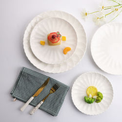 安い8inchは嘆く白い円形の陶磁器のディナー用大皿(TC23003225JH)を