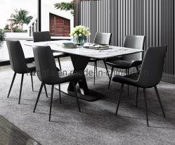 O formato X moderno mobiliário doméstico de metal da estrutura de aço mesa de jantar em mármore