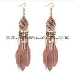Bohemia Feather Women Beads Tassel Dougle Long Earrings Dream Catcher Drop Oorbellen Fashion Sieraden