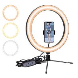 10'' anillo de luz LED con Trípode y soporte para teléfono