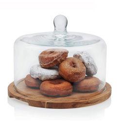 케이크용 유리 돔 커버 세트가 있는 나무 케이크 판 유리 돔 커버가 있는 디저트 디스플레이 케이크 스탠드를 전시합니다