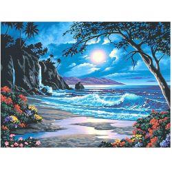 Pittura di diamante per i capretti e gli adulti, immagine di scenario della spiaggia DOT Full Drill Ricamo di pietra di cristallo per decorazione domestica della parete regalo
