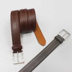亜鉛Pinのバックル35-15122が付いている本革の男性用ベルトの高品質の革靴ベルト