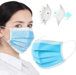 Distributeur dentaire jetables Masques Masques Ear-Loop 3 plis masque anti-poussière bleu tissu non tissé civile masque certificat CE