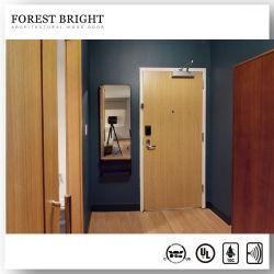 مخصص 20 45 60 90 دقيقة باب مقاوم للحريق مدرج ضمن قائمة UL فندق الأمن التجارى باب خشبى مصنف للحريق للنزيل الداخلى غرفة
