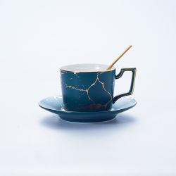 Thé noir en céramique Tasse et soucoupe Pattern de marbre Café Tasse et soucoupe