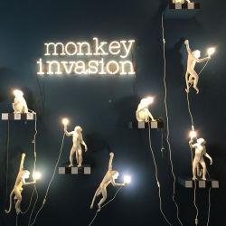 Decoração arte Estátua Animal Monkey Lamp Quarto Artesanato Resina decorativas