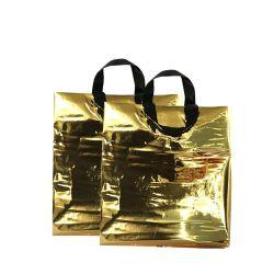 حقيبة تسوق بلاستيكية مع مقبض حلقة ناعمة مع شعار مخصص