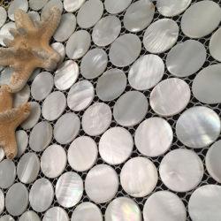 Rundes Frischwassershell-Mosaik mit Verbindungen auf Ineinander greifen