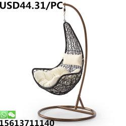Châssis en acier la pendaison de canne à sucre en rotin Panier chaise de jardin de loisirs de pivotement