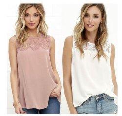 As mulheres Verão moda Lace Vest Top sem mangas Tanque Casual Blusa Tops T-shirt (18021)