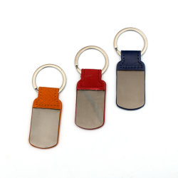 Mayoristas Custom Blank Metal Branded Leather Keychain para la promoción
