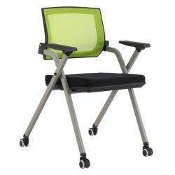 Venda por grosso de fábrica macio e confortável de alta qualidade visitante do rodízio e cadeira de reunião Rebater escritório simples Cadeira de formação de Conferência