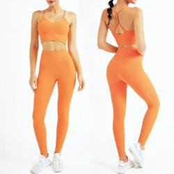 Sutiã de ioga e leggings de cintura subida Stirped Sports para mulher Vestuário de fitness