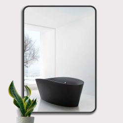 Rustikale Black Metal Gerahmte Badezimmer Dekorativen Rechteckigen Eitelkeit Wandspiegel