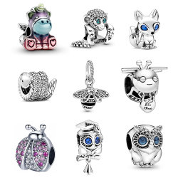 925 Sterling Silver Charm Bee Owl Insect Animal Series kralen FIT originele Charms Armband voor Vrouwen DIY Jewelry Gift