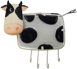 4 Hooksの金属Key Holder Cow Decorative Glass Wall Hanger Rack Decor