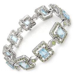Bracelet en or blanc 14K avec Diamond et Gemstone (LBRG1042)