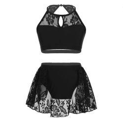 Top Crop 2 paillettes lucido con portafoglio Tutu Leotard Latin Jazz moderno abito da ballo costumi da ballo