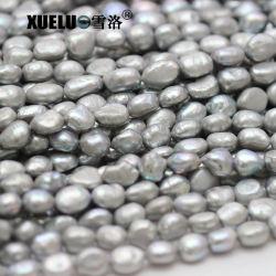 9-10mm AAAの品質の灰色のナゲットのバロック式の実質の培養された淡水の真珠ストリング(XL190026)