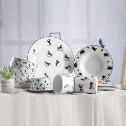 Conception d'animaux de l'or cuisine en porcelaine Rim Dîner Dîner de la vaisselle en céramique fixe