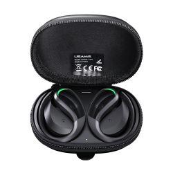 Venda a quente Usams Yt07 Gancho para a orelha de graves profundos Bt5.0 Sport auriculares com Zipper Estojo preto