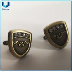 Progettare il gemello per il cliente di marchio degli S.U.A. 3D ab in oro antico, l'argento, gemello decorato cristallo per il regalo promozionale