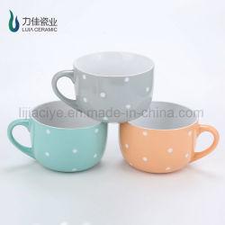 Bol en grès / Hand Painting soupe DOT vitrage mug