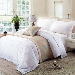 サテンの100%年の綿の白いホテルのシーツはセットした(JRD805)