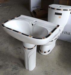 [شوزهوو] مصنع سلك صحّيّة اثنان قطعات خزفيّة غسل بالوعة مع زخرفة