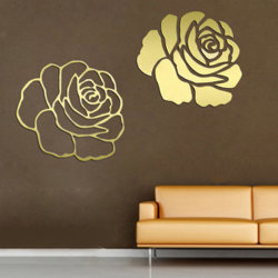 金のばらの花の芸術水晶反射DIYミラーの効果3Dの壁のステッカー