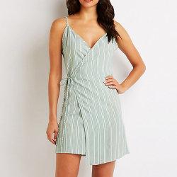 Mesdames Stripe Wrap Tie Parti Slip Mini robe de soirée