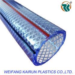 호스 제품 수출 인도네시아 파키스탄 명확한 플라스틱 PVC 빨간 블루 라인을%s 가진 섬유에 의하여 땋아지는 강화된 살포 호스 관