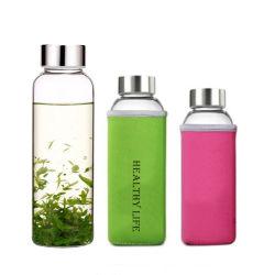 Comercio al por mayor funda de tela deportiva sublimación Botella de agua de vidrio de borosilicato con asa