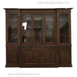 Clásico francés muebles Vintage Provincial Roble Marrón café de oriente tres puertas estantería