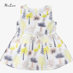 귀여운 아기 드레스 공주 아기 소녀 드레스 디자인 슬리브리스 코튼 베이비 드레스