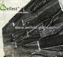 3D de madera negra Ledgestone pulido de mármol para revestimiento de pared