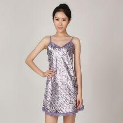 نساء [سومّر هوم] ملابس يثبت بسيطة, عرضيّ, خفيفة و [برثبل] بينيّة لين ثوب, مثير أطلس شريط قصدير ثوب