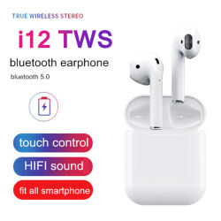 무선 Bluetooth 5.0 이어폰 Tws I12 접촉 통제 Earbuds 팝업 접촉 센서 대상 부피