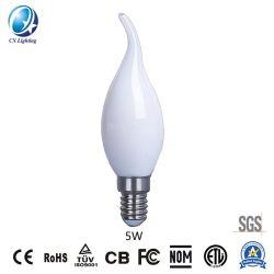 C35t 5W E27/B22 필라멘트 LED 캔들 조명, 커브 테일 600lm은 60W 밀키이고 CE RoHS, EMC, LVD