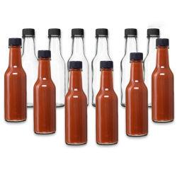 bottiglia di vetro della salsa calda della bottiglia di vetro 150ml della salsa calda della bottiglia 150ml della salsa calda 5oz del peperoncino rosso Woozy della bottiglia con il coperchio di plastica