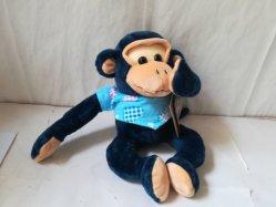 Cartoon vestido azul Suave tela de peluche mono de peluche