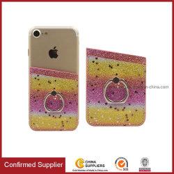 Étui en cuir Glitter Wallet adhésif Manchons de carte de support pour téléphone