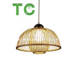 Commerce de gros lustres bambou bambou tissées à la main la poignée de commande de la lampe de plafond