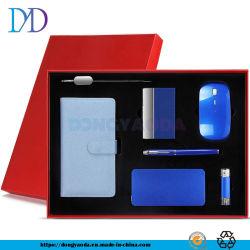 2021 aangepaste draagbare oplader van 10000 mAh/B5-notebook/32g u-schijf /Metal Book Mark/pen/name Card Folder/Mouse Office Desk Supplies Electronic Gift Instellen