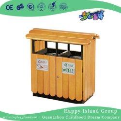 公共の環境保全の倍の屋根(HHK-15006)が付いている木製のゴミ箱